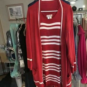 APRIORI Red & White Colour Block Knit Dress Set